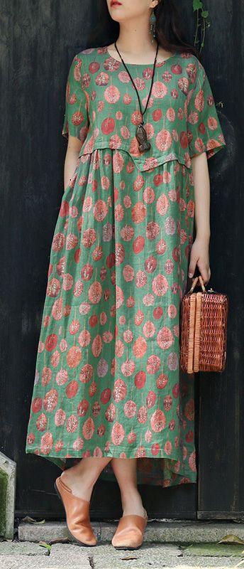 DIY green print linen cotton clothes For Women Organic Shape o neck asymmetric l…