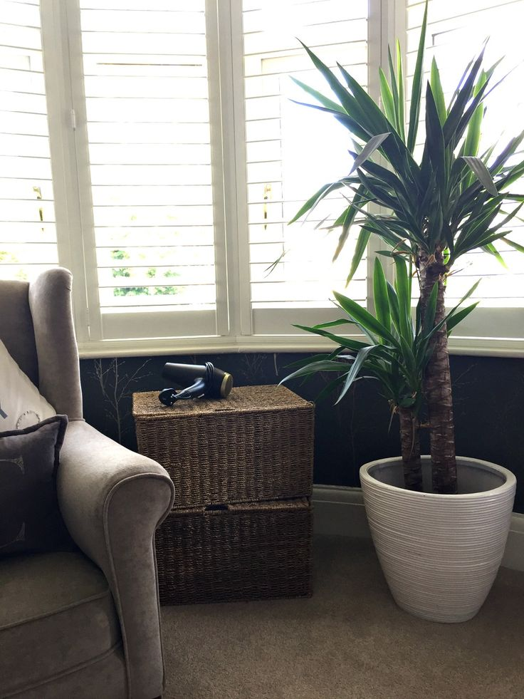 Baskets used as furniture - side tables