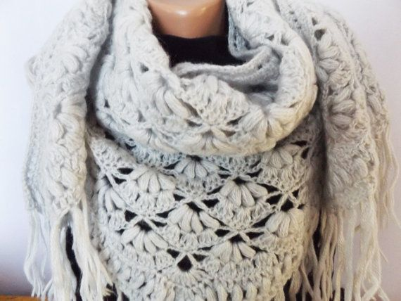 Crochet Triangular Shawl Custom Color Crochet by CharmingBeautique
