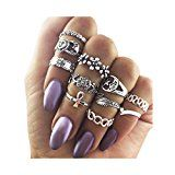 Zealmer Knuckle Ring Set Retro Silver Set Of Rings Sun Moon Flower Leaves Statement Stacking Band Ring Set  by Zealmer  $7.98