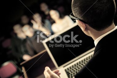 Talking at convention Royalty Free Stock Photo