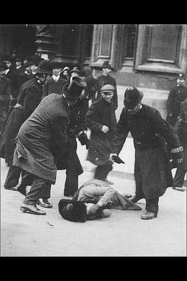 Susan B. Anthony in 1872 getting beaten and arrested for trying to vote when it was illegal for women to do so.