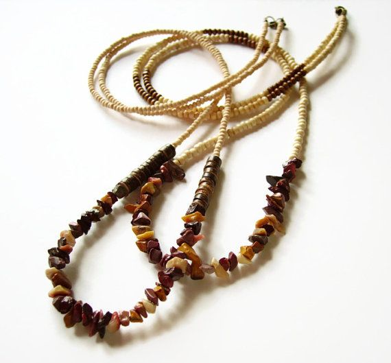 Gemstone and wood necklace in bohemian style by AellaJewelry, $28.00