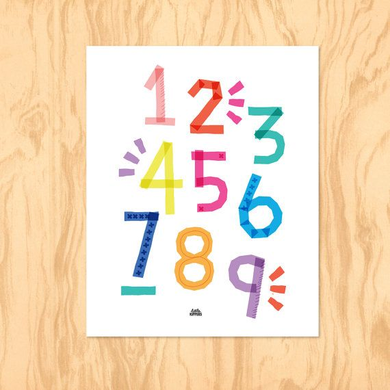 RAINBOW NUMBERS : Printable Art Nursery Art Kids by LittleKipper