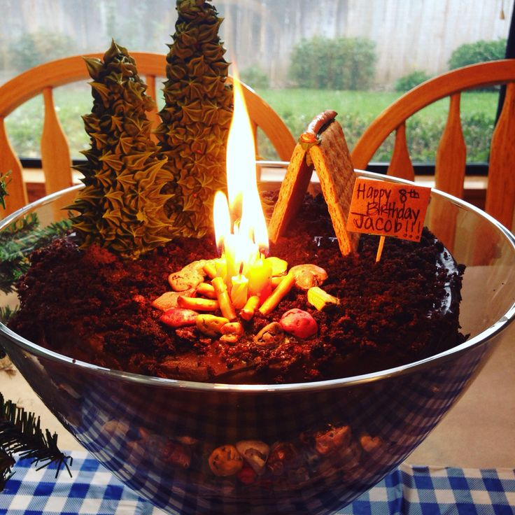 "Campsite on top of a giant dirt cake. Layers of chocolate cake, pudding, chocolate rocks, and gummy worms in a trifle dish. Trees are upside down sugar cones with royal icing (used a star tip). Graham cracker tent. Bonfire: clump of orange and yellow candles at varied heights surrounded by broken pretzel sticks (logs), circled with chocolate rocks. The ""dirt"" on top is crumbled chocolate cake left over from leveling the cake layers."