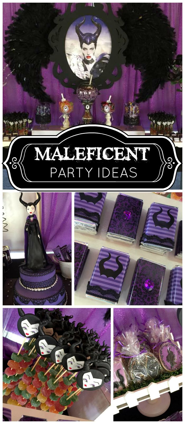 A glamorous purple and black Maleficent girl birthday party with a stunning cake! See more party ideas at CatchMyParty.com!