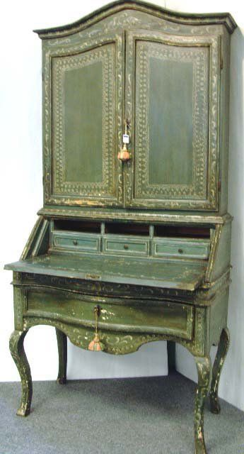 ANTIQUE ITALIAN PAINTED SECRETARY DESK - 2PC. ORIG