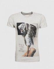 ELEVEN PARIS T-Shirt mit Front-Print ´Aldino´ Herren grau