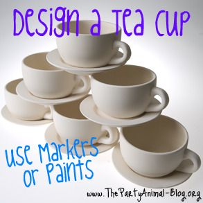 "If you are planning an Alice in Wonderland Birthday Party than I have a great Party Craft Idea the kids will love to do.  How about letting them  Design their very own Tea Cup? Now you cannot drink from these Tea Cups, but they can be used for a Planter, Jewelry Holder, Display in their rooms etc... Each Ceramic Tea Cup is 2½″ tall and 4½″ Wide, Saucer is 6"" Wide and they are Unfinished Ceramic. The Kids can paint them using Paint and then when Dry just spray some Clear Finish on them to…"