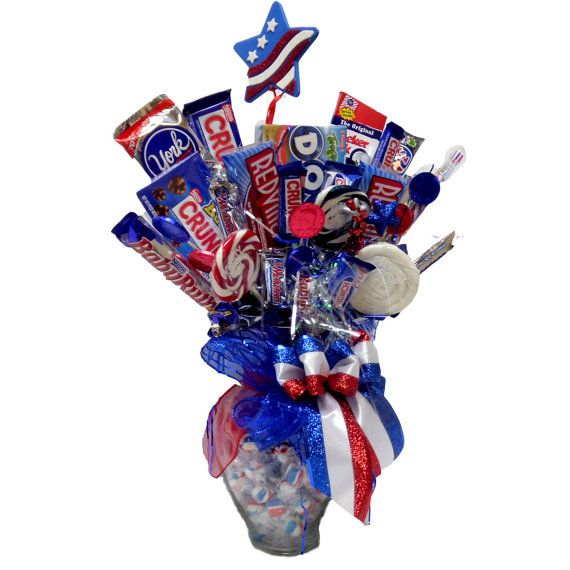 This Red White And Blue Patriotic Candy Bouquet Is A