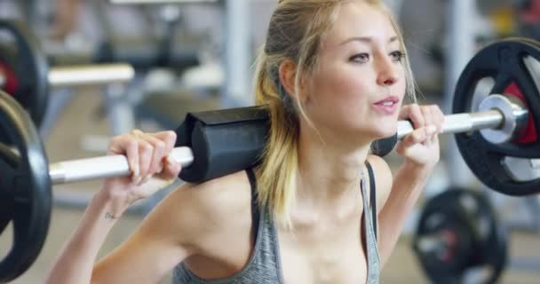 Young beautiful girl gym doing exercises squat barbell improving – #Barbell #bea…