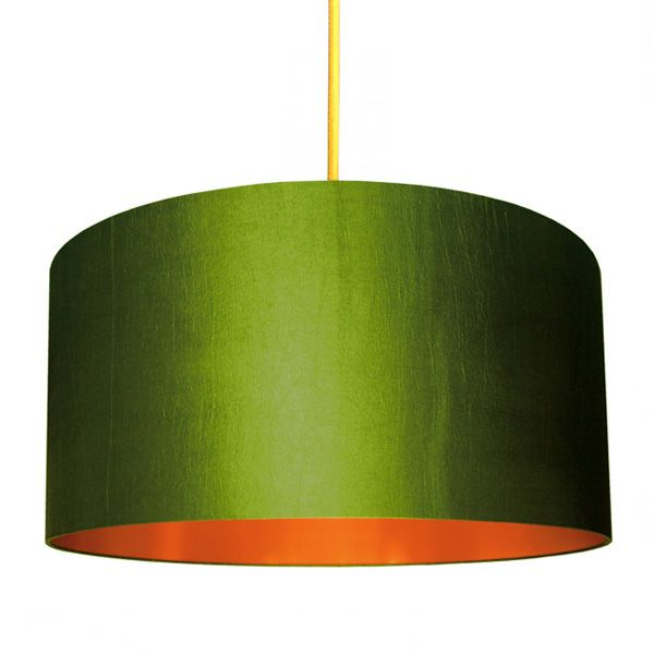 Fabric Lampshade - Olive & Brushed Copper