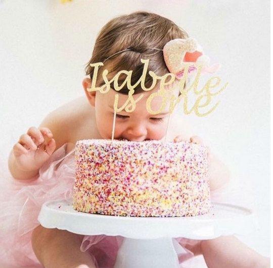 Name cake topper  Custom First birthday cake by InspiredbyAlma