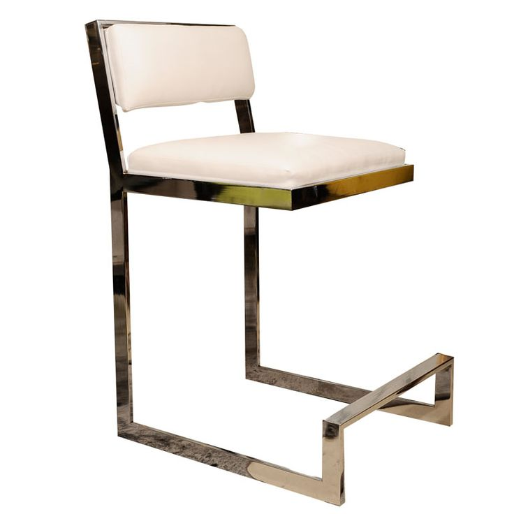 View This Item And Discover Similar Stools For Sale At   Chrome Bar Stool  From The With White Ultra Leather(faux Leather).