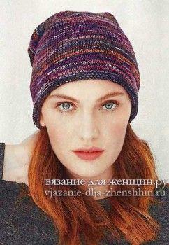 Шапки спицами для женщин с описанием и схемами вязания ...