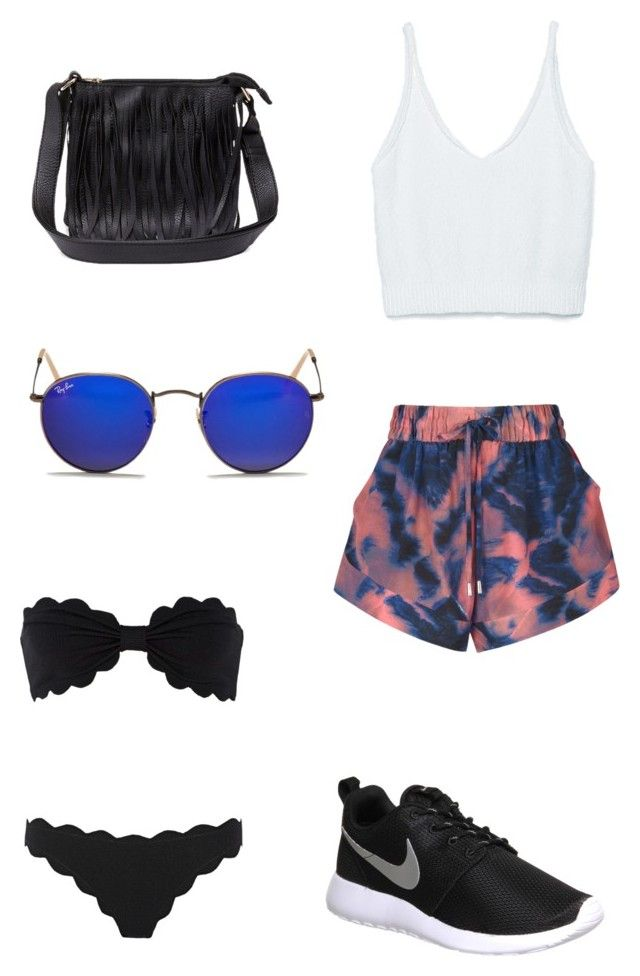 Outfit #9 by dianatairum on Polyvore featuring Zara, IRO, Marysia Swim, NIKE, Charlotte Russe and Ray-Ban