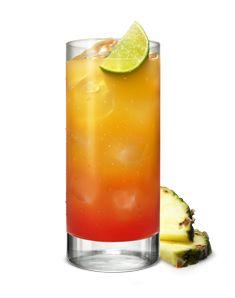 Jamaican Sunrise - 40 ml. vodka / 120 ml ananassap (pineapple juice) / 20 ml grenadine. Ijsklontjes. wodka. ananassap - rustig grenadine voor zonsopgangeffect.