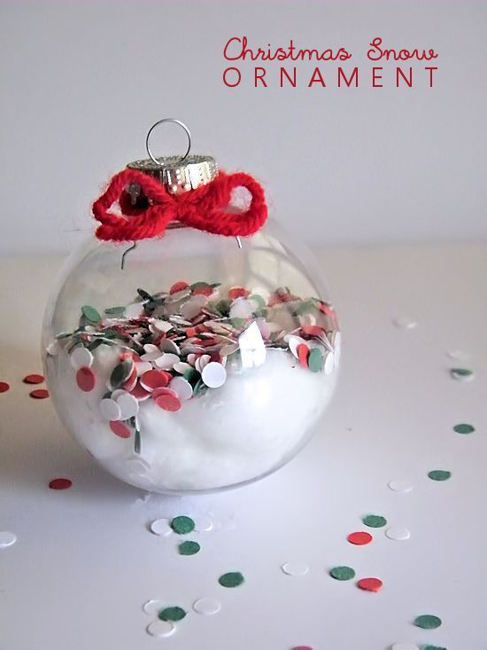 Kids DIY Christmas Snow Ornament Using A Paper Hole Punch For Colorful Effect