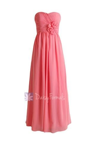 Light Coral Long Sweetheart Chiffon Evening Dress Long Coral Bridesmaid Dress(BM224) – DaisyFormals-Bridesmaid and Formal Dresses in 59+ Colors