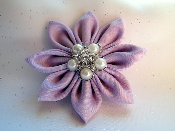 Lavendar Kanzashi flower with vintage style by Sweetlittleblossoms, $7.95