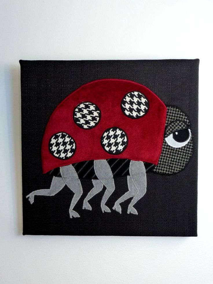 """10""""x10"""" Ladylegs.  Ooo la la! Recycled fabrics appliqued on a black background. www.facebook.com/allison.whonewcreations"""