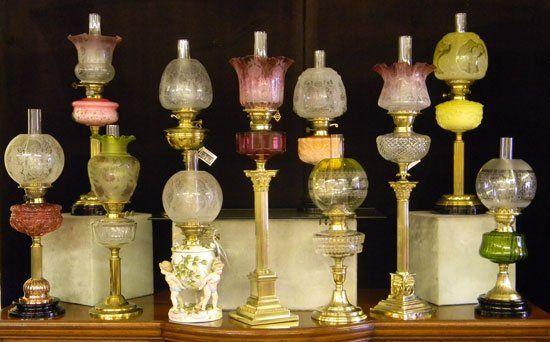 Antique Shop - Spalding, Lincolnshire, United Kingdom. A Selection of Antique Victorian Oil Lamps