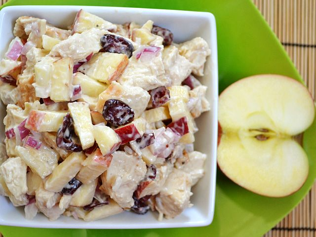 This chicken & apple salad is a sweet tart take on classic chicken salad. Green apples and dried cranberries add flavor and texture to boring chicken salad.