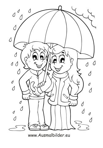 ausmalbild kinder mit regenschirm zum kostenlosen ausdrucken und ausmalen. ausmalbilder  