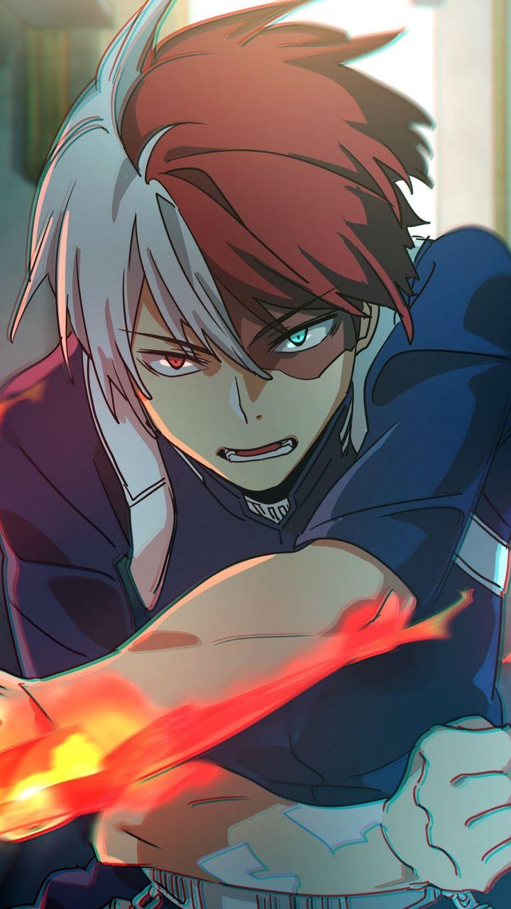 Shouto Todoroki, angry, My Hero Academia, anime boy