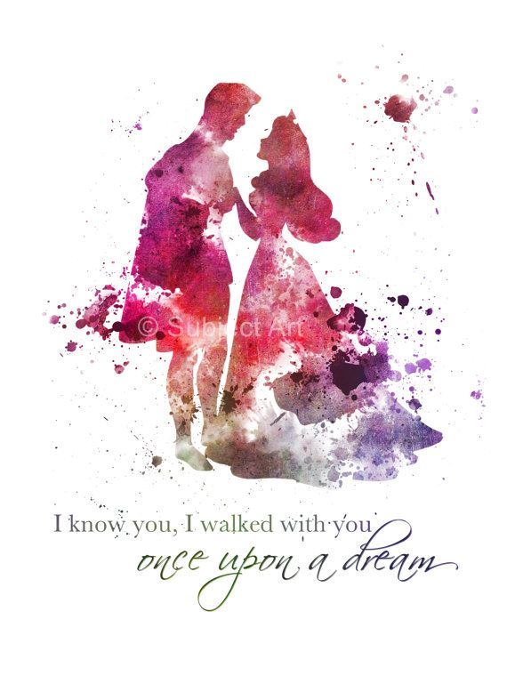 Sleeping Beauty, Aurora Quote ART PRINT illustration, Disney, Princess, Dance, Prince Phillip, Mixed Media, Home Decor, Nursery,