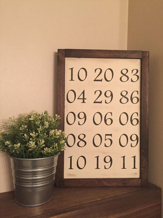 Custom Important Dates   Birthday Wedding Gifts   Family Birth Dates by HintonSignCoShop