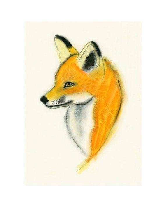 Items Similar To Fox Print 2 Fox Drawing 83 X 117 A4 Print