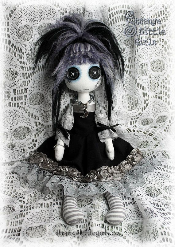 Button eyed, Gothic, cloth art doll in black and grey (medium) - Amelie Nightmist
