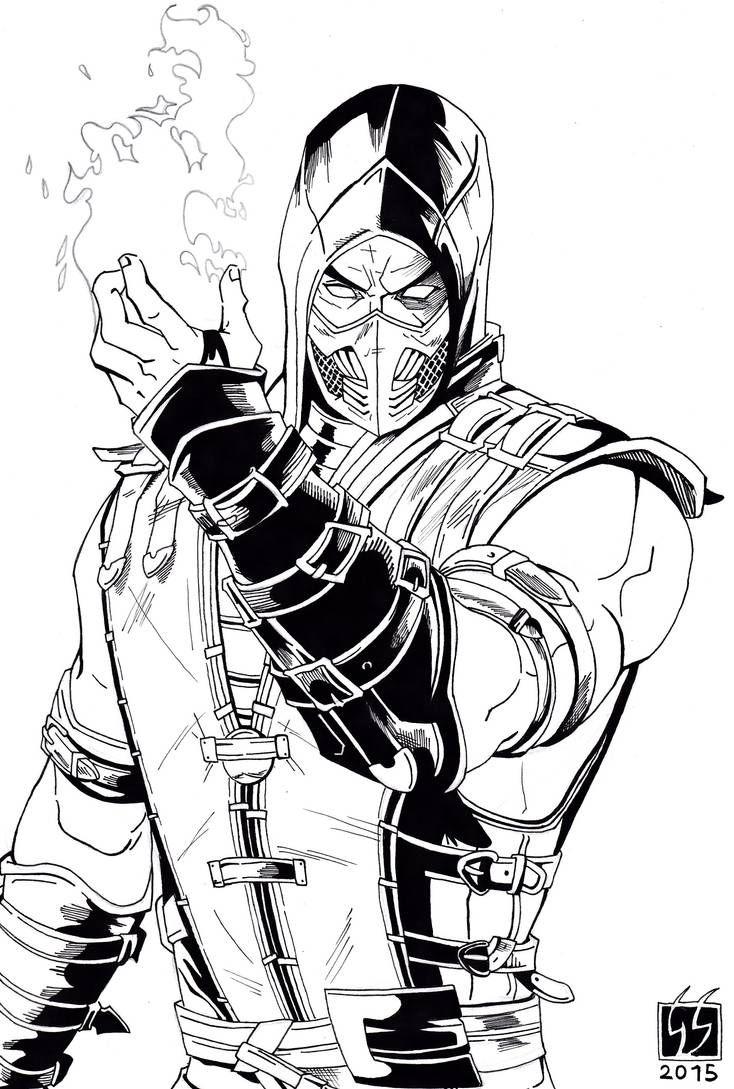 Scorpion Mortal Kombat X Black And White By Gabred Hat On
