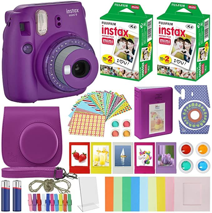Fujifilm Instax Mini 9 Instant Camera Clear Purple With Clear Accents With Carrying Case Fuji Instant Camera Instax Mini Fujifilm Instax Mini