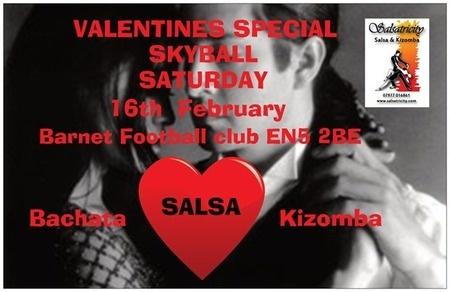 VALENTINE SKYBALL *SALSA *KIZOMBA* *BACHATA* *SEMBA* at Barnet Football club with free parking. Lesson and club  on Saturday February 16, 2013 at 8:00 pm     http://atnd.it/UzqBCc