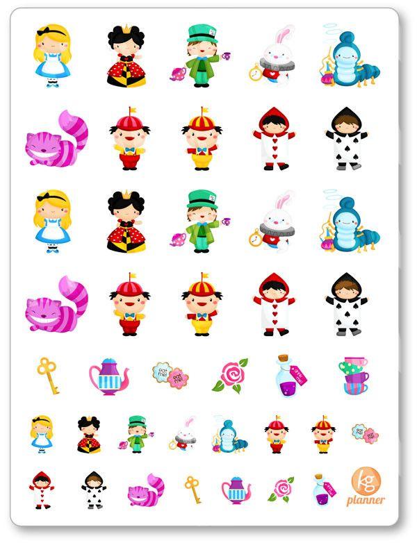 Alice in Wonderland Planner Stickers