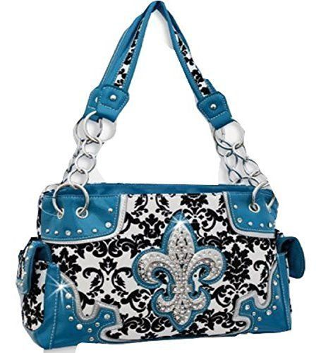 Blue Western Style Damask Print Fleur De Lis Purse Conceal and Carry Purse  #HBM