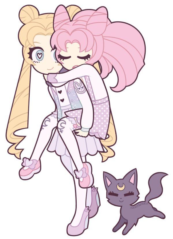 Sailor Moon : Usagi and Chibiusa Tsukino + Luna by nekozneko.deviantart.com on @deviantART