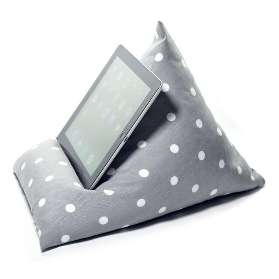iPad / Tablet Cushion Stand Pillow Holder - GREY SPOTTY - Bean Bag Suitable for all Tablets