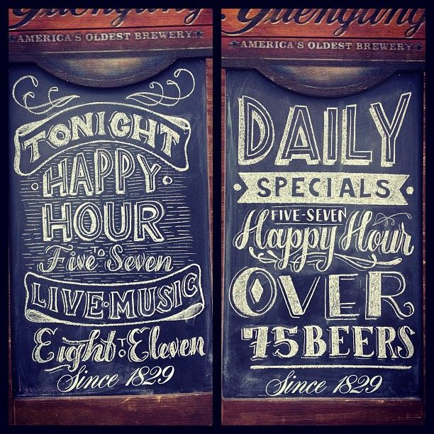 INK361 - Photo - Both Sides of the A-Frame for today. Switching up styles. #chalk #bar #sign #type #typography #lettering #design