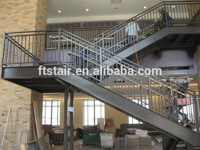 U Shaped Stair With Steel Platform Indoor Stairs Metal