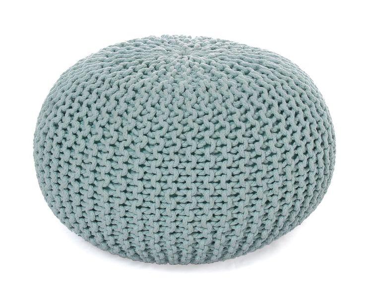 Gebreide poef Bini, mintgroen, diameter 55 cm   Westwing Home & Living