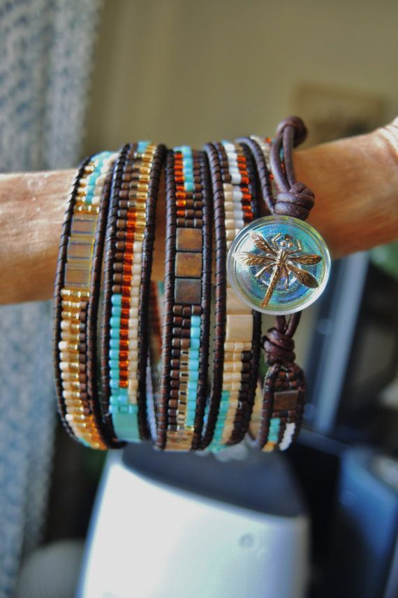 GRAND CANYON 5 Wrap Leather Bracelet with Japanese Miyuki Delica \u0026 Tila  Beads and a vintage glass Czech iridescent Dragonfly Button
