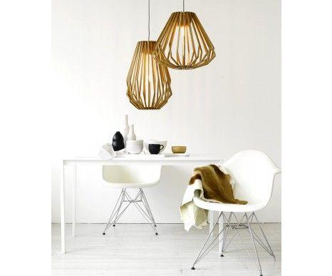 Stockholm 1 Light Squat Flair Pendant in Natural Wood | Pendant Lights | Lighting