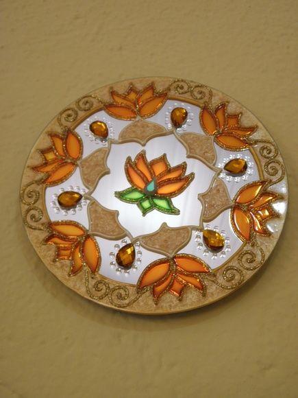 Trio de Espelhos com 15 cm cada Mandalas com Flor de Lótus Pintura vitral