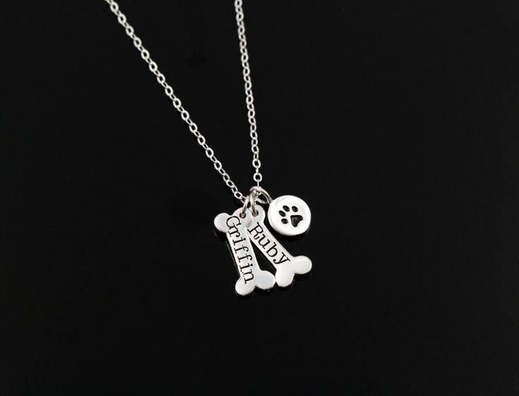 Dog Paw Necklace Pet Jewelry Personalized by ACharmedImpression, $42.00