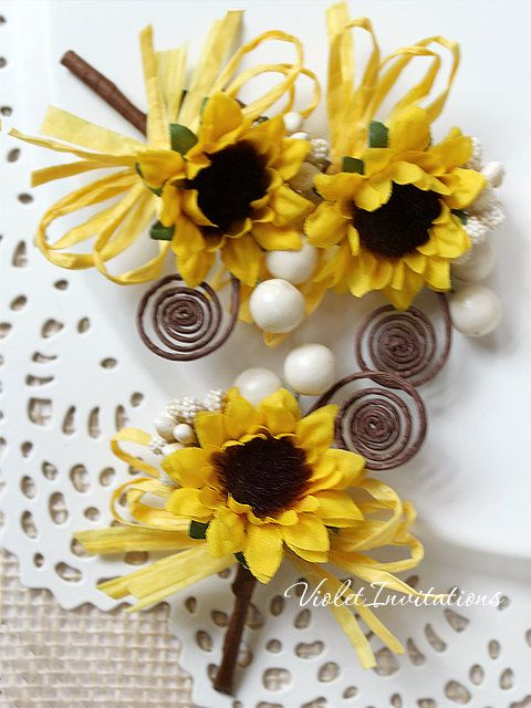 Rustic Sunflower Boutonnieres Set of 3 Groom by VioletInvitations