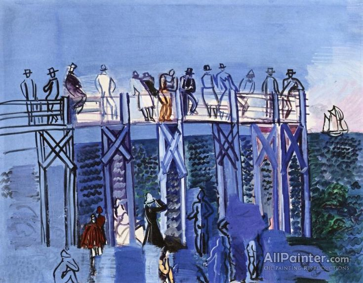 Raoul Dufy,The Pier And The Beach At Havre oil painting reproductions for sale