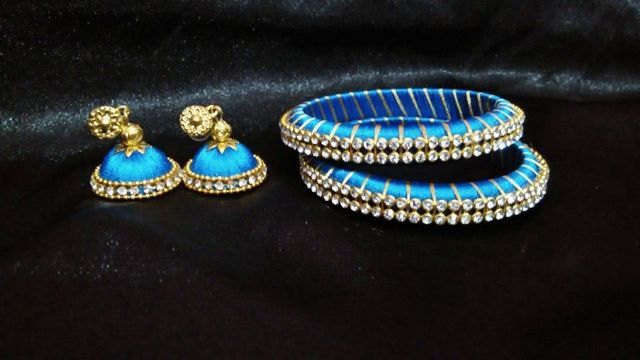 silk thread jhumka+bangles set... Plz like our page https://m.facebook.com/ankaa.creations for updates